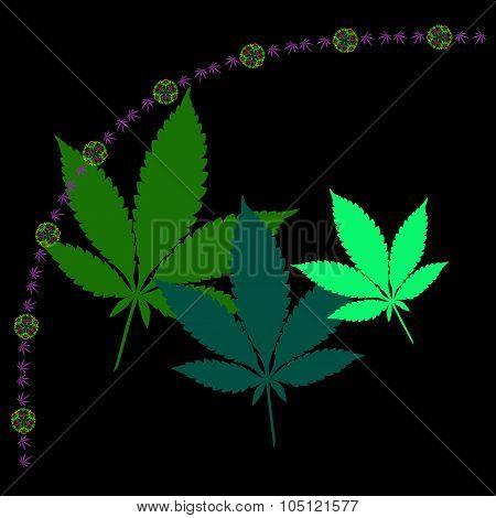 Marijuana Leaves And Mandala Chain In Abstract Style