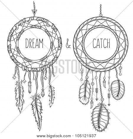 Dream catchers. Native american traditional symbol. Vintage vector hand drawn illustration.