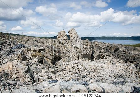 Big Obsidian Flow Rocks