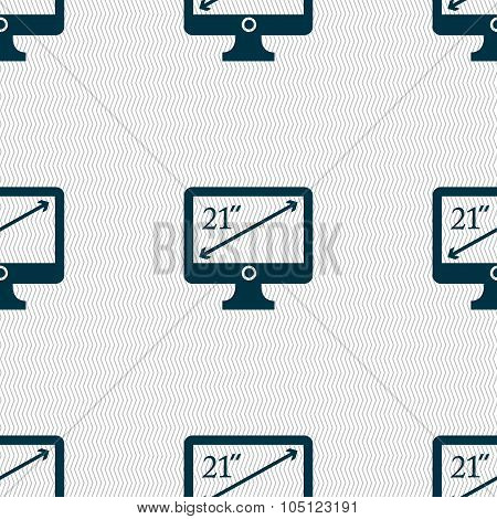 Diagonal Of The Monitor 21 Inches Icon Sign. Seamless Abstract Background With Geometric Shapes. Vec