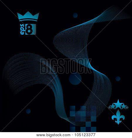 Dimensional Motif Elegant Flowing Curves, Dark Background In Motion With Five Stars Emblem, Eps8