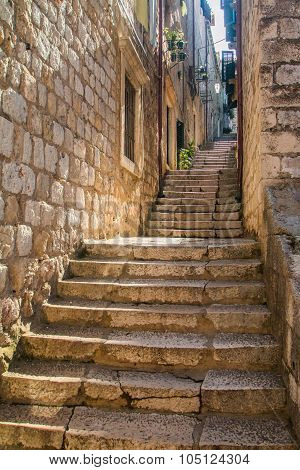 Narrow street and stairs in the Old Town in Dubrovnik, Croatia, Mediterranean ambient