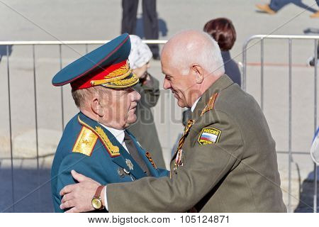 Meeting Of General And Colonel Old Friends On Celebration On Annual Victory Day