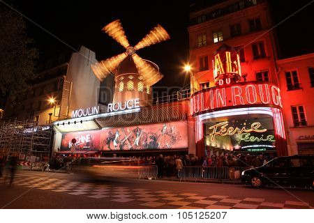 Paris - May 3: The Moulin Rouge At Night, On May 3, 2013 In Paris, France. Moulin Rouge
