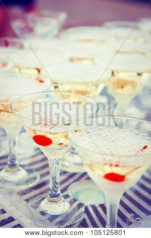 Glasses with cocktails drinks   at the Banquet