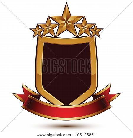 3D Vector Classic Royal Symbol, Sophisticated Protection Shield With Golden Star And Red Wavy Stripe