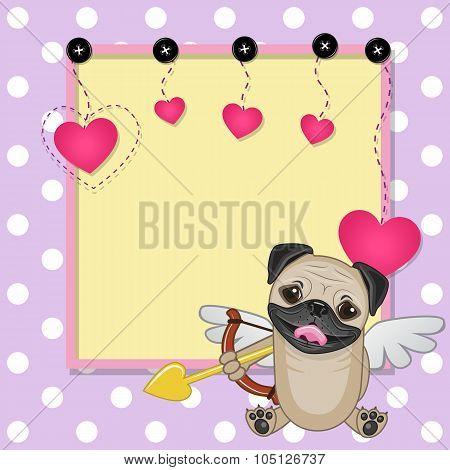 Cupid Pug Dog With Frame