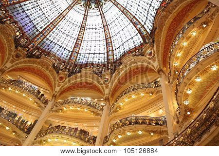 Paris April 27: Part Of The Floors And Of The Beautiful Arch In The Famous Shopping Center Galeries