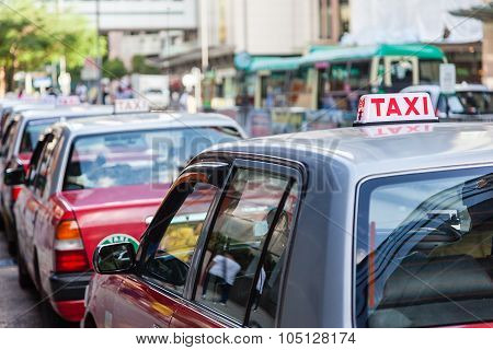 Long Line Of Hong Kong Taxis Waiting