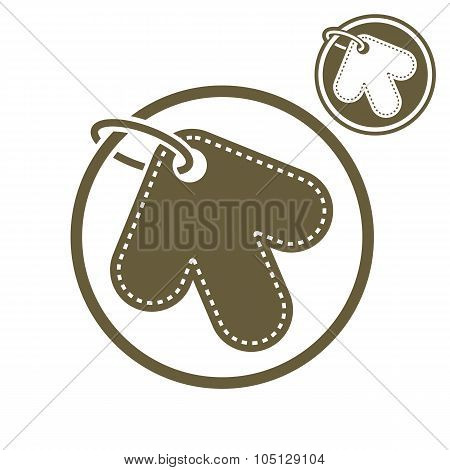 Tag In A Shape Of Arrow Retail Theme Vector Simple Single Color Icon Isolated On White Background, I