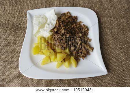 Soy Granules White Plate Potatoes Recipe