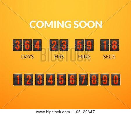 Coming Soon, flip countdown timer panel