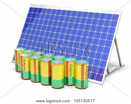 Solar Panels And Chemical Battery.
