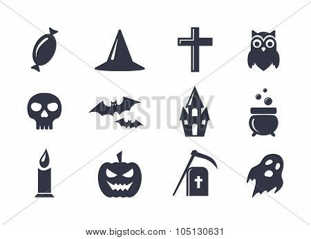 Simple vector icons set for Halloween.