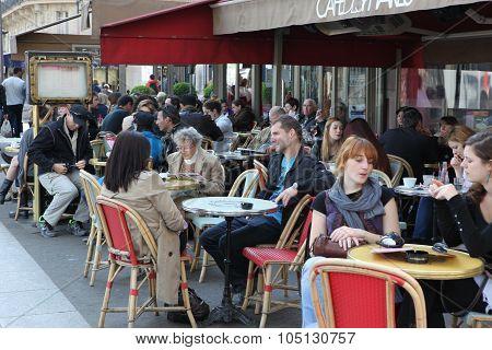 Paris - April 27 : Parisians And Tourist Enjoy Eat And Drinks In