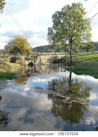 Bridged Lake With Tree Reflections