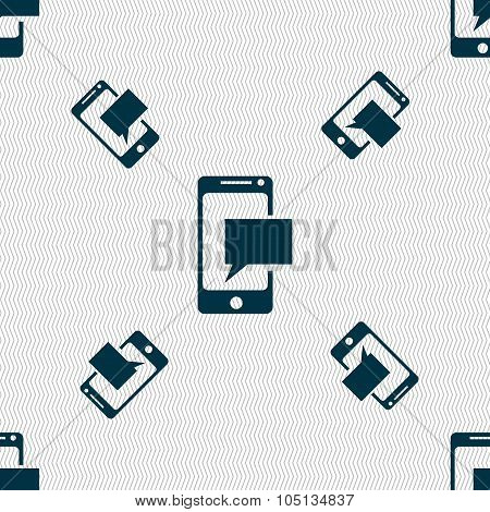 Mail Icon. Envelope Symbol. Message Sms Sign. Mails Navigation Button. Seamless Pattern With Geometr