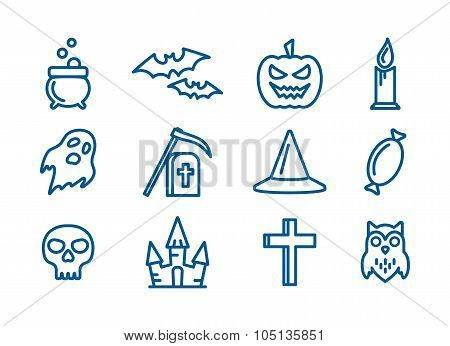 Line art vector icons set for Halloween.