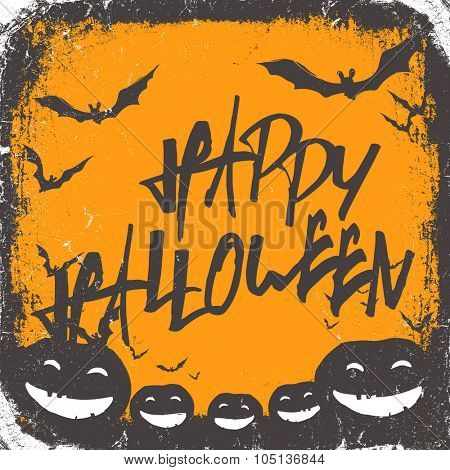 Halloween themed background with hand drawn lettering and bats silhouettes and scary pumpkins