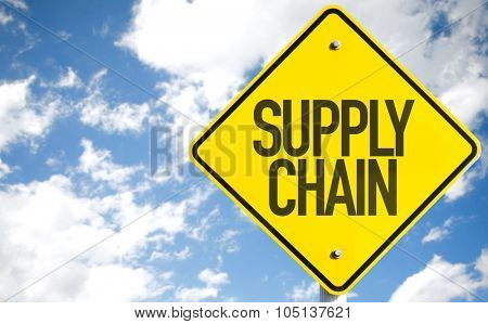 Supply Chain sign with sky background