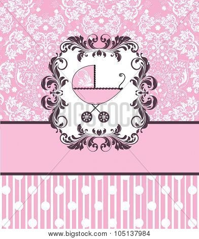 Vintage baby shower invitation card with ornate elegant retro abstract floral design, pink with baby carriage, polka dots and stripes. Vector illustration.