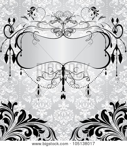 Vintage invitation card with ornate elegant abstract floral design, black on gray and white. Vector illustration.