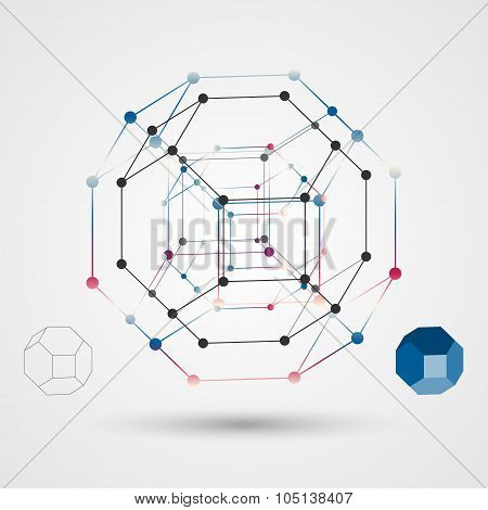 The Skeleton Of A Polygon With Points At The Vertices. Abstract Geometric Background Scientific Them