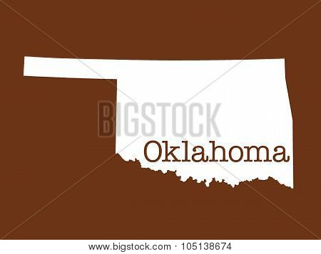 Oklahoma State Outline Illustration on brown background