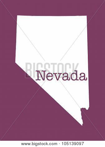 Nevada State Outline Illustration on dark fuchsia