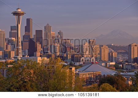 Seattle Skyline At Sunset Washington State.