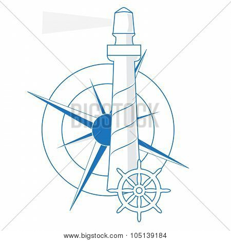 vector lighthouse, windrose and the ship's rudder