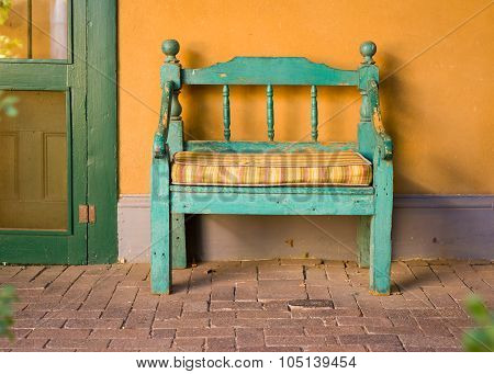 Antique Wooden Bench In Santa Fe