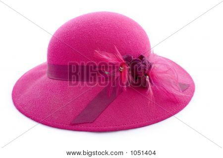 Vintage Pink Feathered Hat