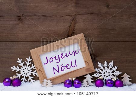 Purple Decoration, Snow, Joyeux Noel Mean Merry Christmas