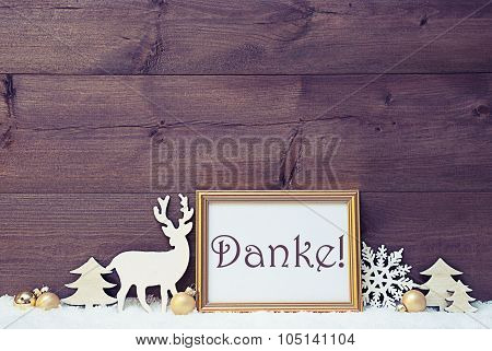 Vintage White And Golden Christmas Card, Snow, Danke Mean Thanks