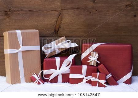 Red Christmas Gifts And Presents With White Ribbon