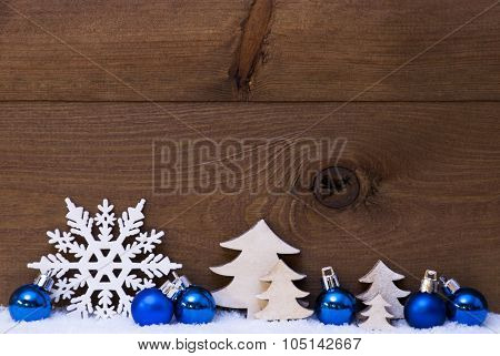 Blue Christmas Card With Decoration, Snow, Copy Space