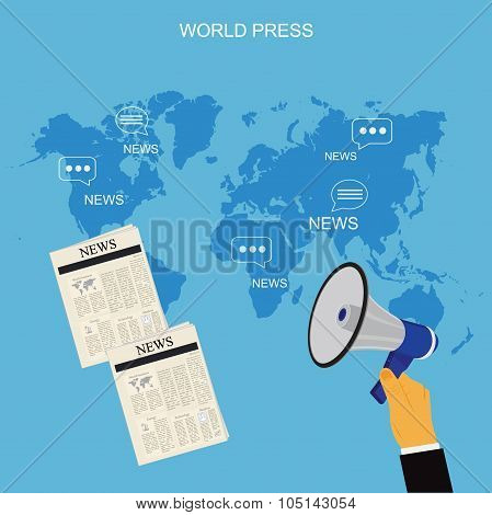world press concept in flat style, vector illustration, template
