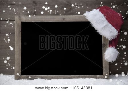 Gray Christmas Card, Blackboard,Snow, Hat, Copy Space, Snowflake
