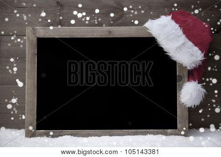 Gray Christmas Card, Blackboard,Snow, Hat, Copy Space, Snowflake