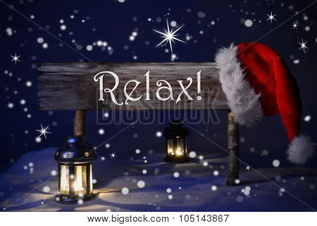 Christmas Sign Candlelight Santa Hat Relax