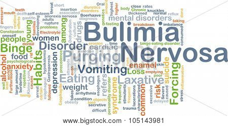 Background concept wordcloud illustration of bulimia nervosa