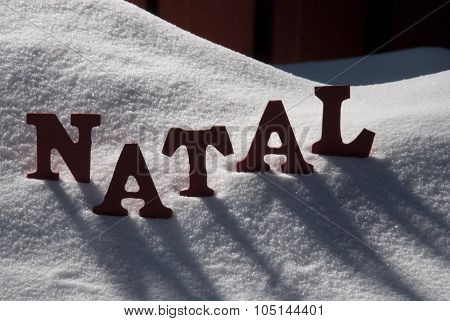 Card With Snow And Word Natal Mean Christmas