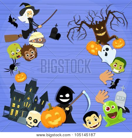 Halloween Monsters Collection Set Zombie Vampire Ghost Death Grim Reaper Werewolf Copy Space