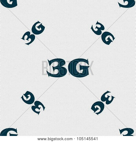 3G Sign Icon. Mobile Telecommunications Technology Symbol. Seamless Pattern With Geometric Texture.