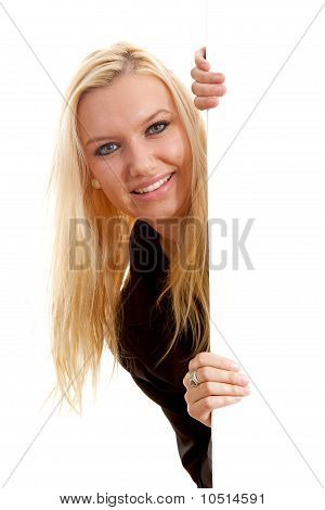 Young Blonde Woman Holding Empty Text Board