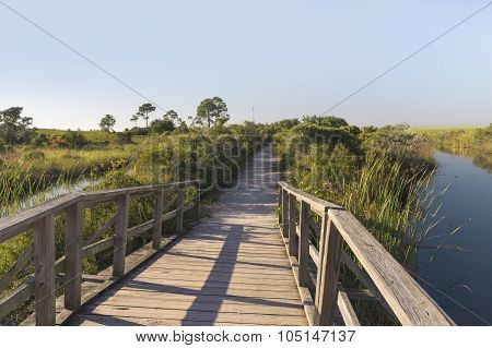Wooden Foot bridge Path At Fort Pickens