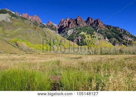 Mountains With Colorful Yellow Aspen During Foliage Season