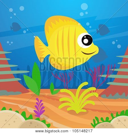 Yellow Cartoon Colorful Fish Under Deep Water Marine Ocean