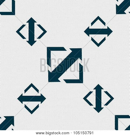 Deploying Video, Screen Size Icon Sign. Seamless Pattern With Geometric Texture. Vector